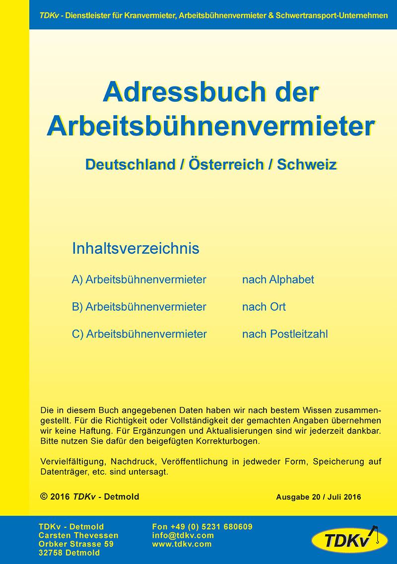 Arbeitsbühnenvermietung: Adressbuch der Arbeitsbühnenvermieter Nr. 16