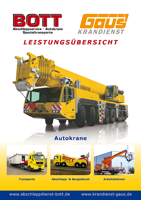 Corporate brochure for Bott towing and Gaus Crane Service