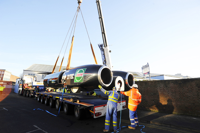 Collett Transport relocates world fastest car Thrust SSC