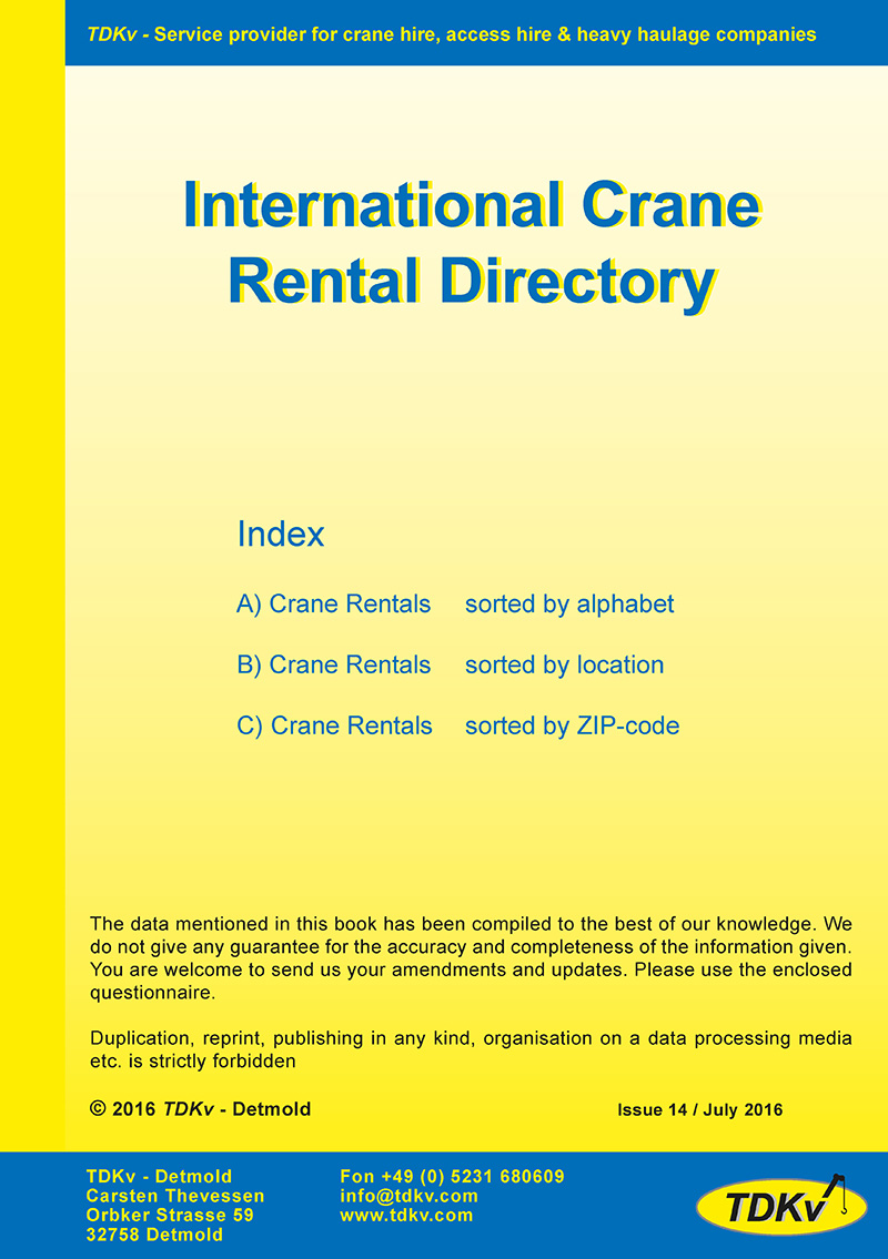 International Crane Rental Directory