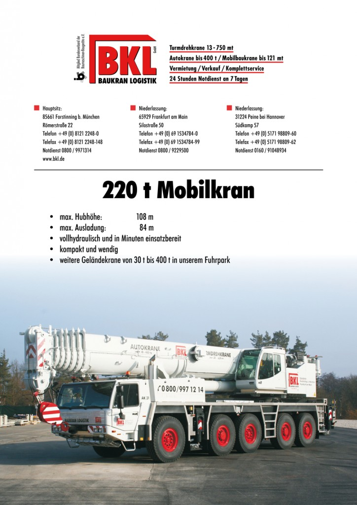 Mobile crane load chart for Tadano crane ATF 220G-5